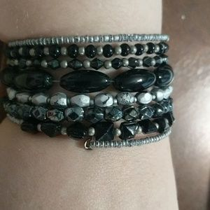 Black and Silver Multi Wrap Bracelet